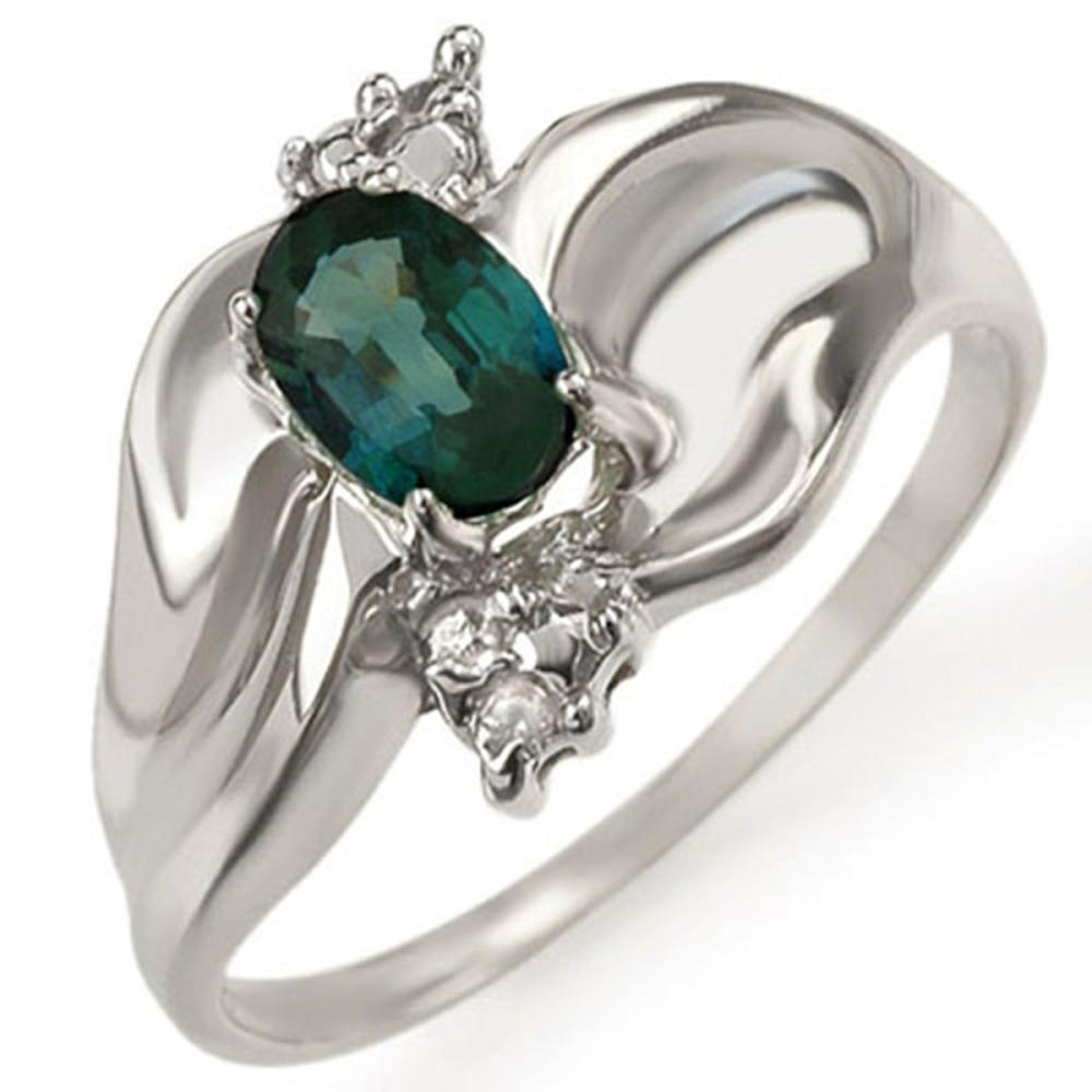 0.79 ctw Blue Sapphire & Diamond Ring 18K White Gold - REF-48Y2X - SKU:11410