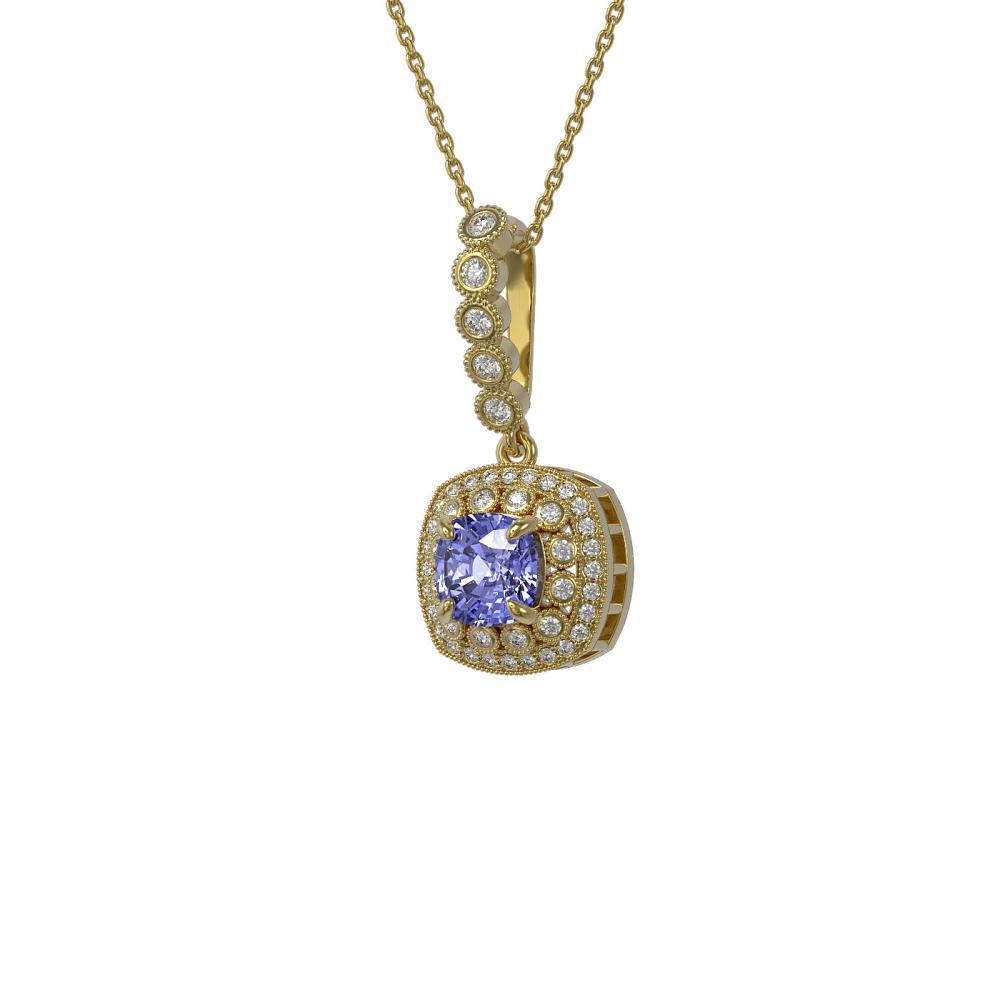2.6 ctw Tanzanite & Diamond Necklace 14K Yellow Gold - REF-91A6V - SKU:44083