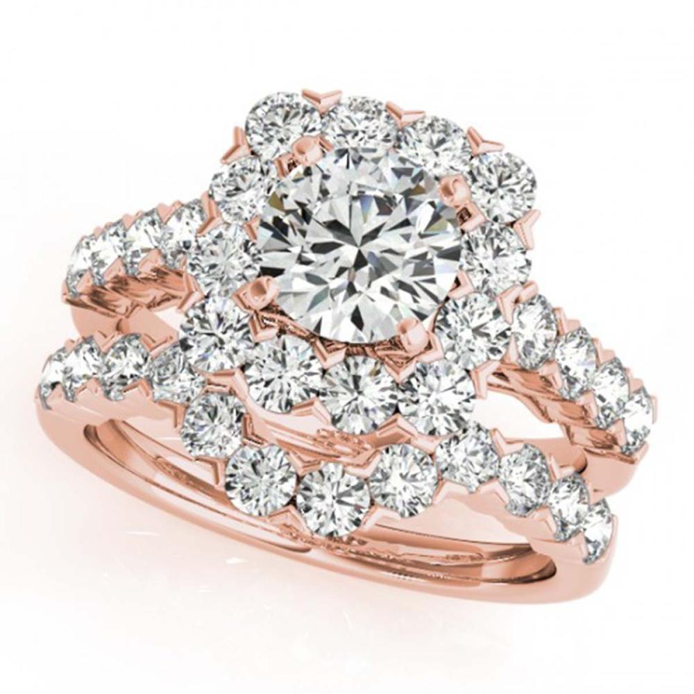 3.23 ctw VS/SI Diamond 2pc Wedding Set Halo 14K Rose Gold - REF-229F5N - SKU:30670