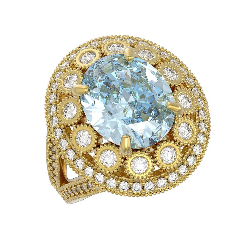 6.96 ctw Aquamarine & Diamond Ring 14K Yellow Gold - REF-237F5N - SKU:43750