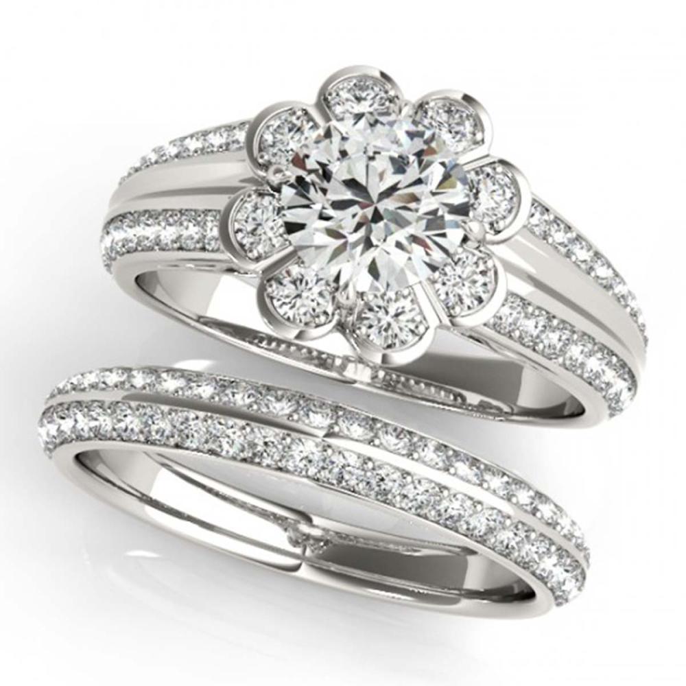 2.41 ctw VS/SI Diamond 2pc Wedding Set Halo 14K White Gold - REF-537Y2X - SKU:31289
