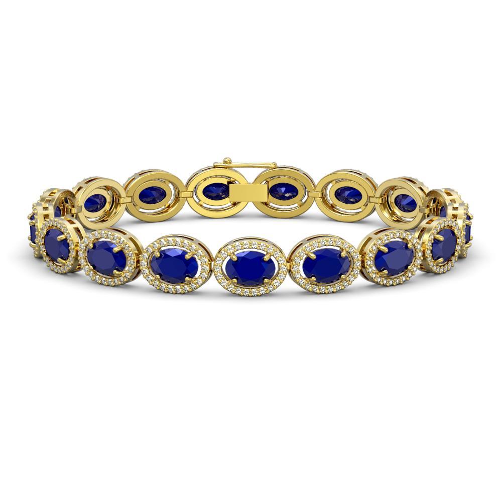 22.89 ctw Sapphire & Diamond Halo Bracelet 10K Yellow Gold - REF-291K5W - SKU:40609