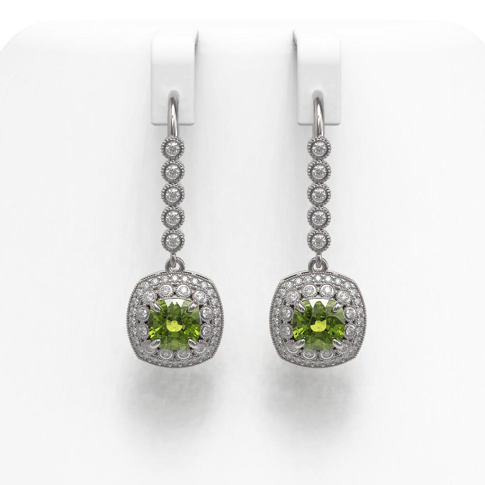 4.5 ctw Tourmaline & Diamond Earrings 14K White Gold - REF-147M6F - SKU:44066
