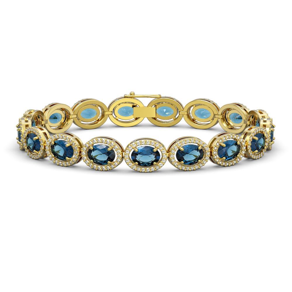24.32 ctw London Topaz & Diamond Halo Bracelet 10K Yellow Gold - REF-256A7V - SKU:40639