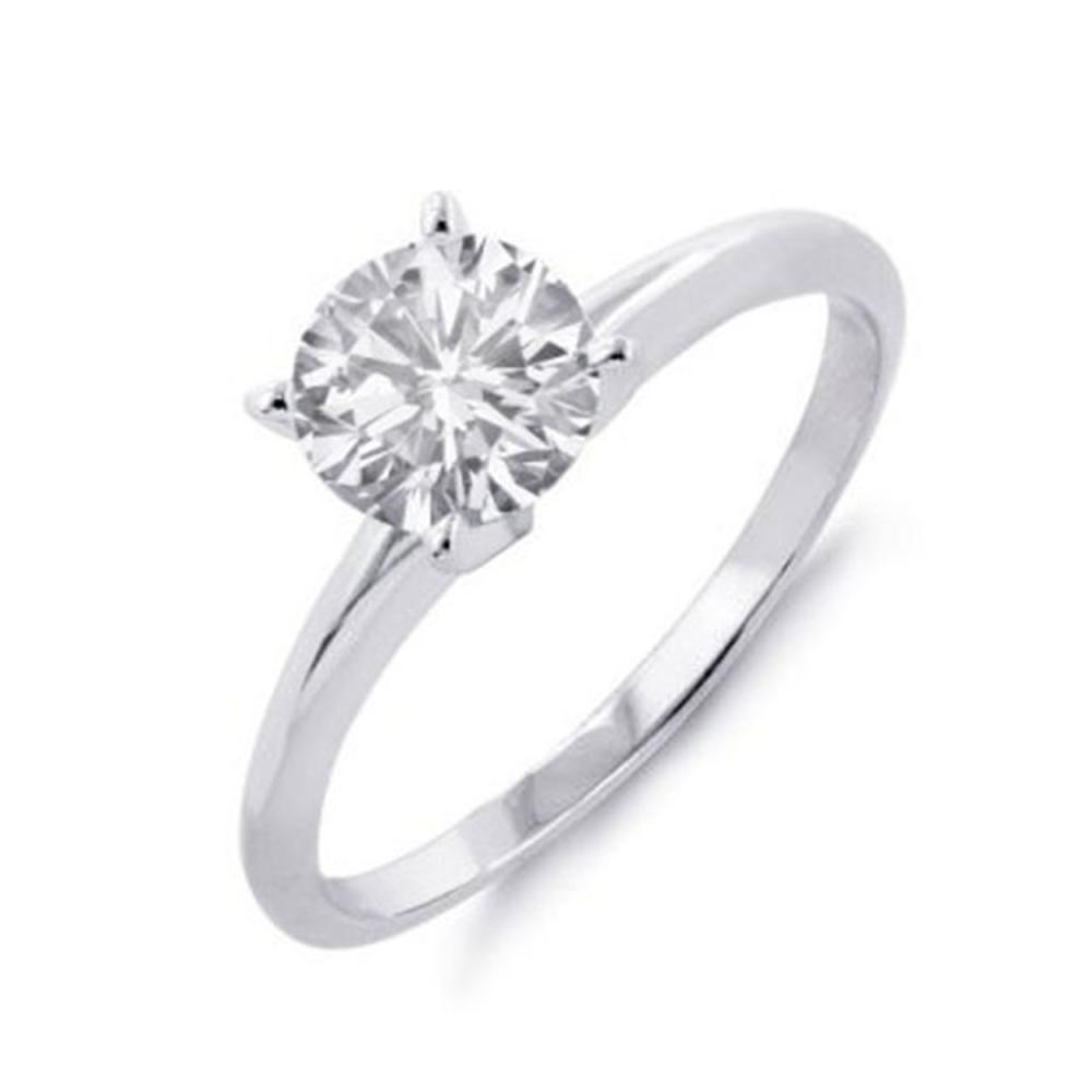 0.60 ctw VS/SI Diamond Solitaire Ring 14K White Gold - REF-142X9R - SKU:12048