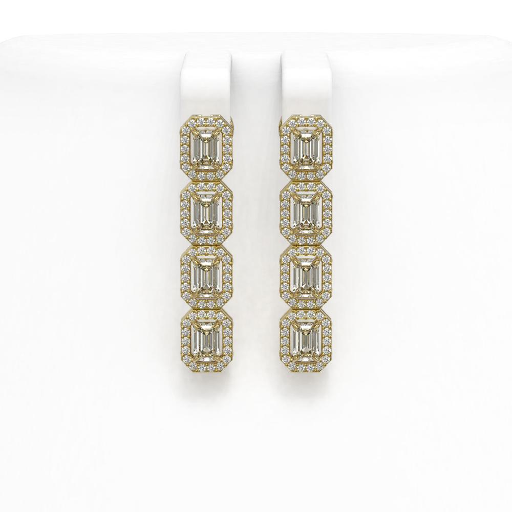 4.52 ctw Emerald Diamond Earrings 18K Yellow Gold - REF-534W2H - SKU:43063