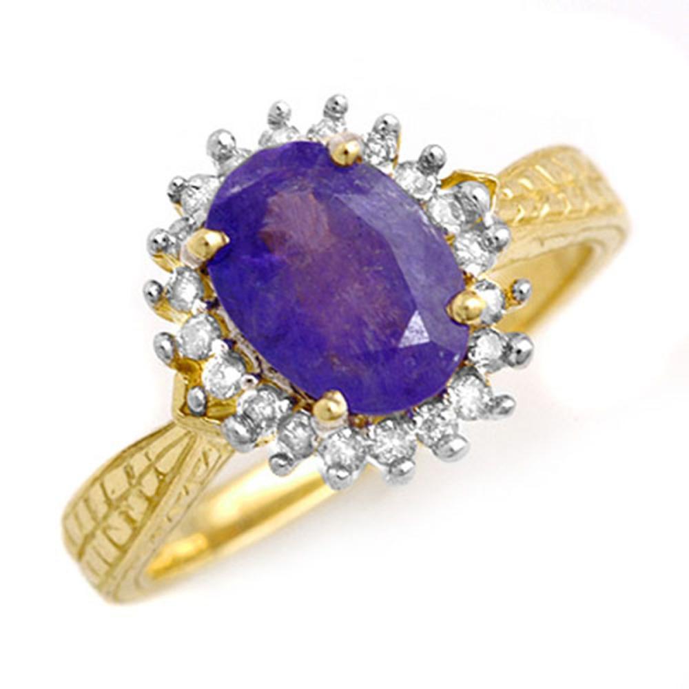 2.75 ctw Tanzanite & Diamond Ring 10K Yellow Gold - REF-65H8M - SKU:13596