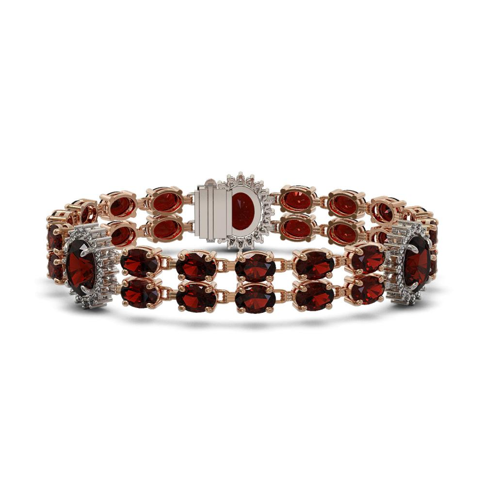 32.15 ctw Garnet & Diamond Bracelet 14K Rose Gold - REF-195H7M - SKU:44442