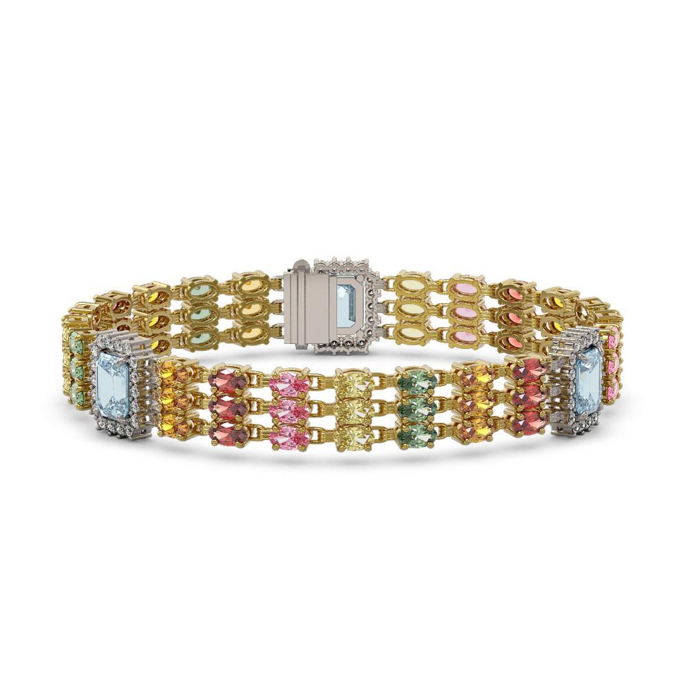 29.55 ctw Sapphire & Diamond Bracelet 14K Yellow Gold - REF-374N7A - SKU:45415
