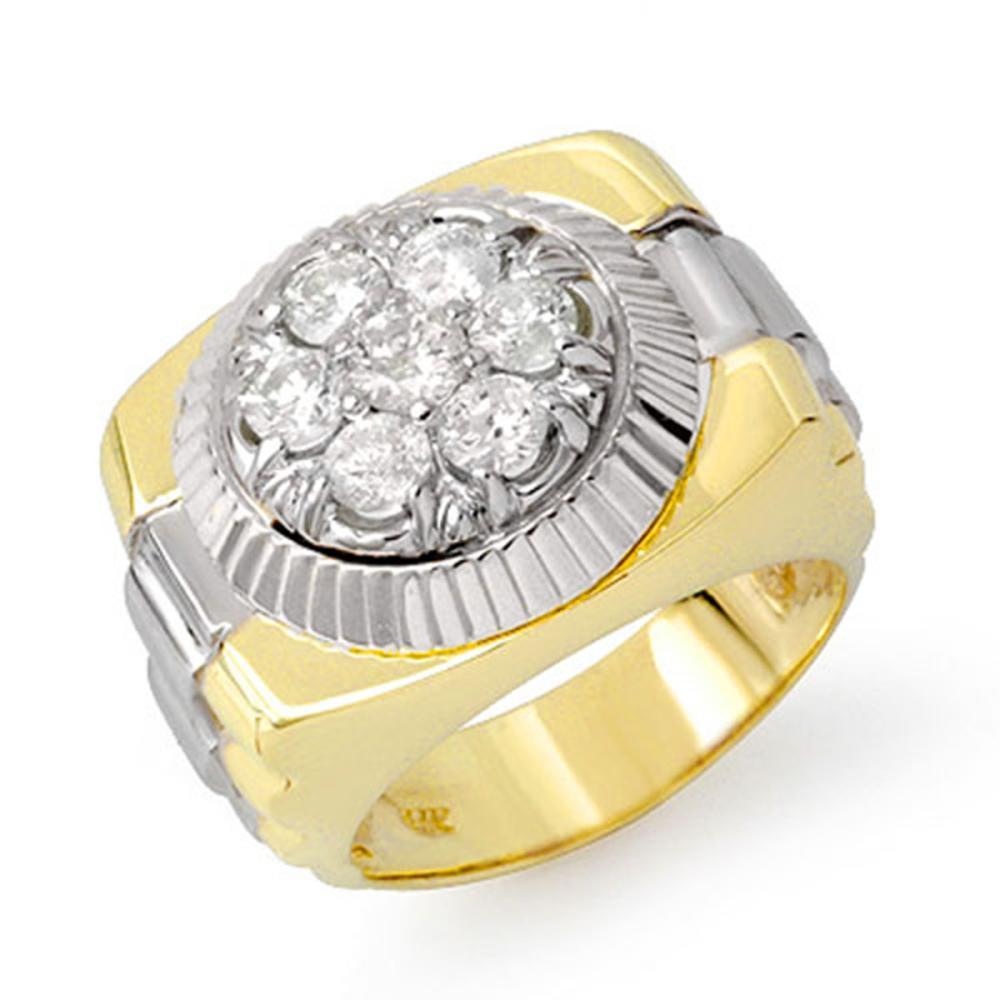 1.50 ctw VS/SI Diamond Men's Ring 18K 2-Tone Gold - REF-222Y9X - SKU:14433