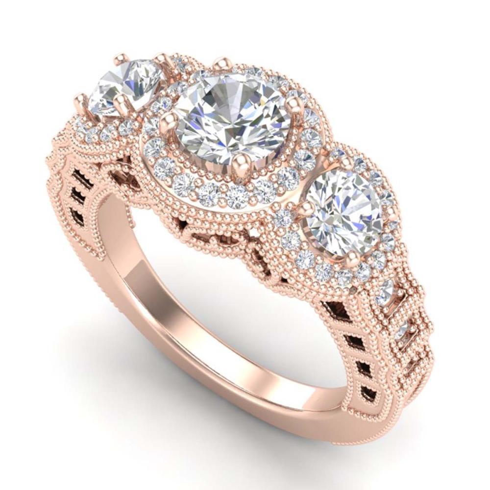 2.16 ctw VS/SI Diamond Solitaire Art Deco 3 Stone Ring 18K Rose Gold - REF-361K8W - SKU:36969
