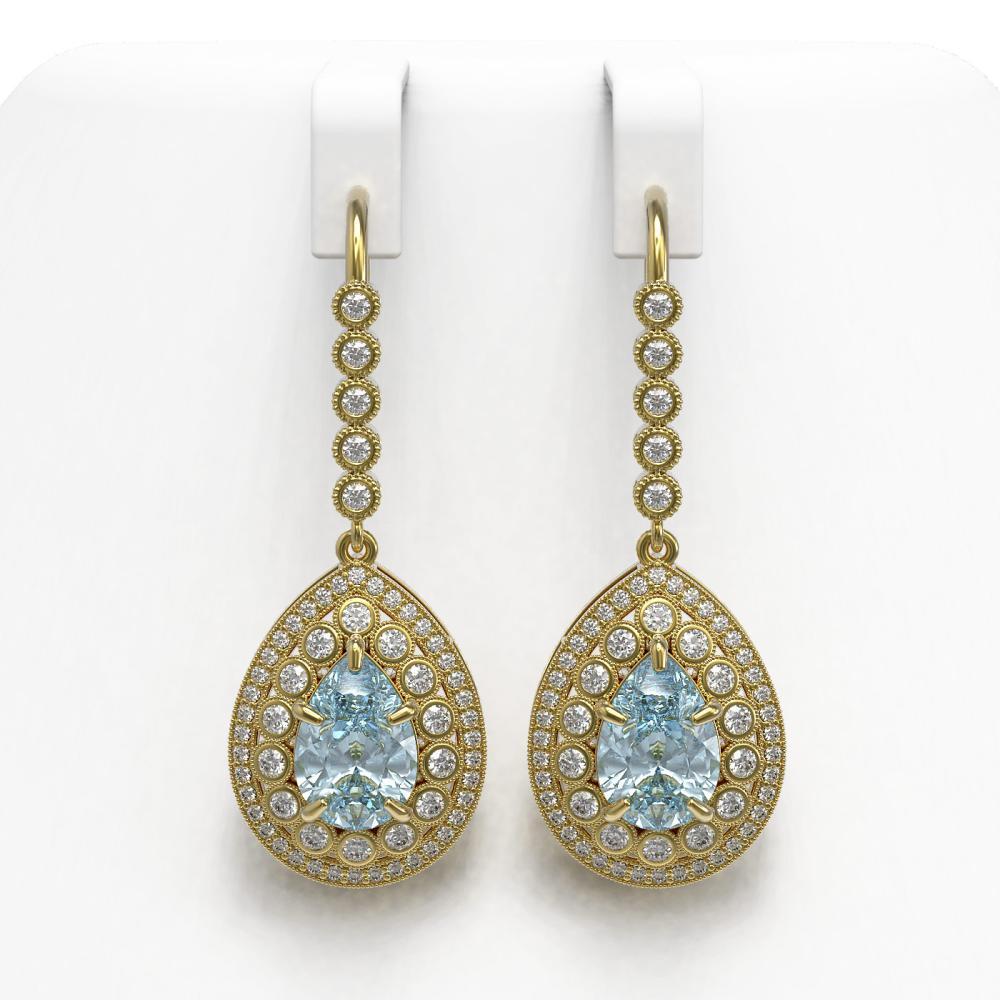 7.56 ctw Aquamarine & Diamond Earrings 14K Yellow Gold - REF-310H4M - SKU:43159
