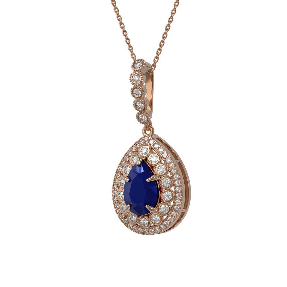 4.97 ctw Sapphire & Diamond Necklace 14K Rose Gold - REF-140N5A - SKU:43206