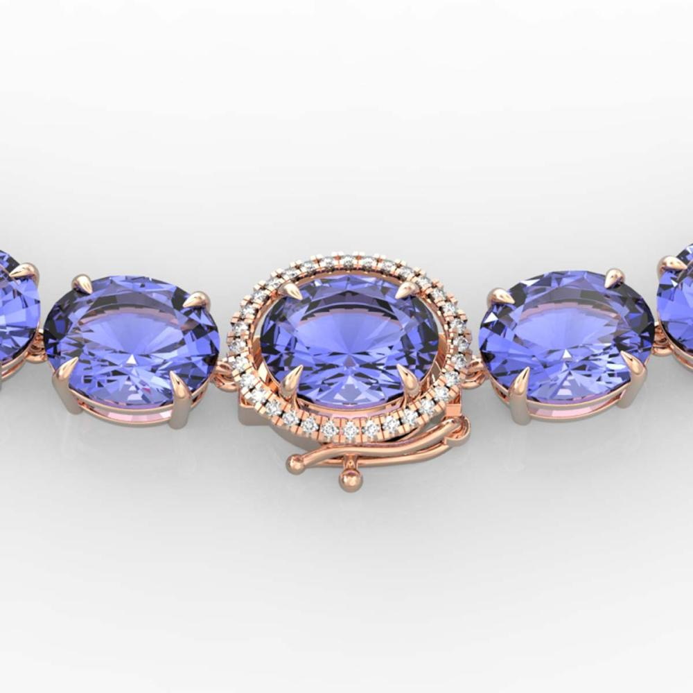 170 ctw Tanzanite & VS/SI Diamond Necklace 14K Rose Gold - REF-3163N6A - SKU:22316