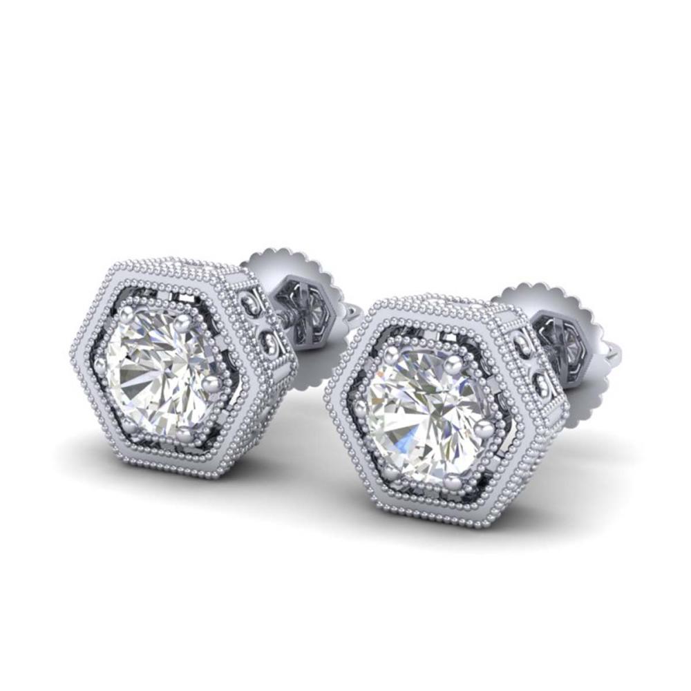 1.07 ctw VS/SI Diamond Solitaire Art Deco Stud Earrings 18K White Gold - REF-190F9N - SKU:36899