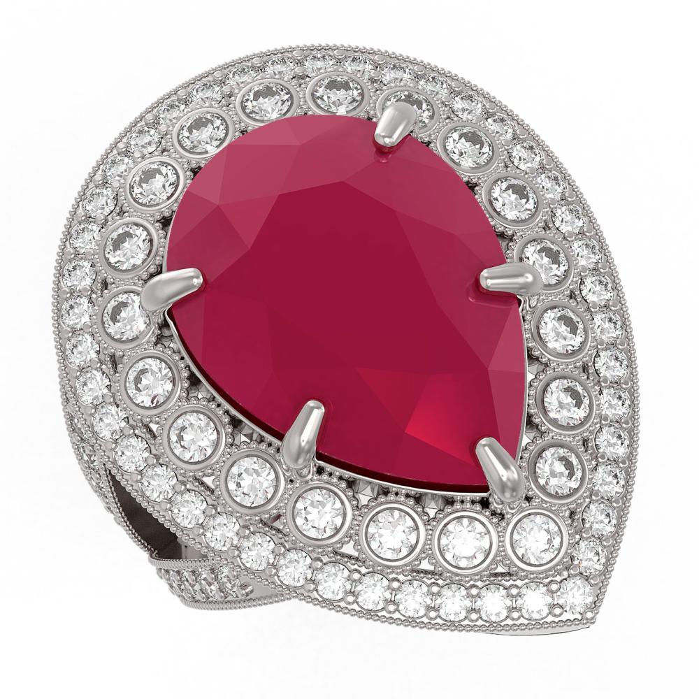 16.29 ctw Ruby & Diamond Ring 14K White Gold - REF-350H4M - SKU:43283