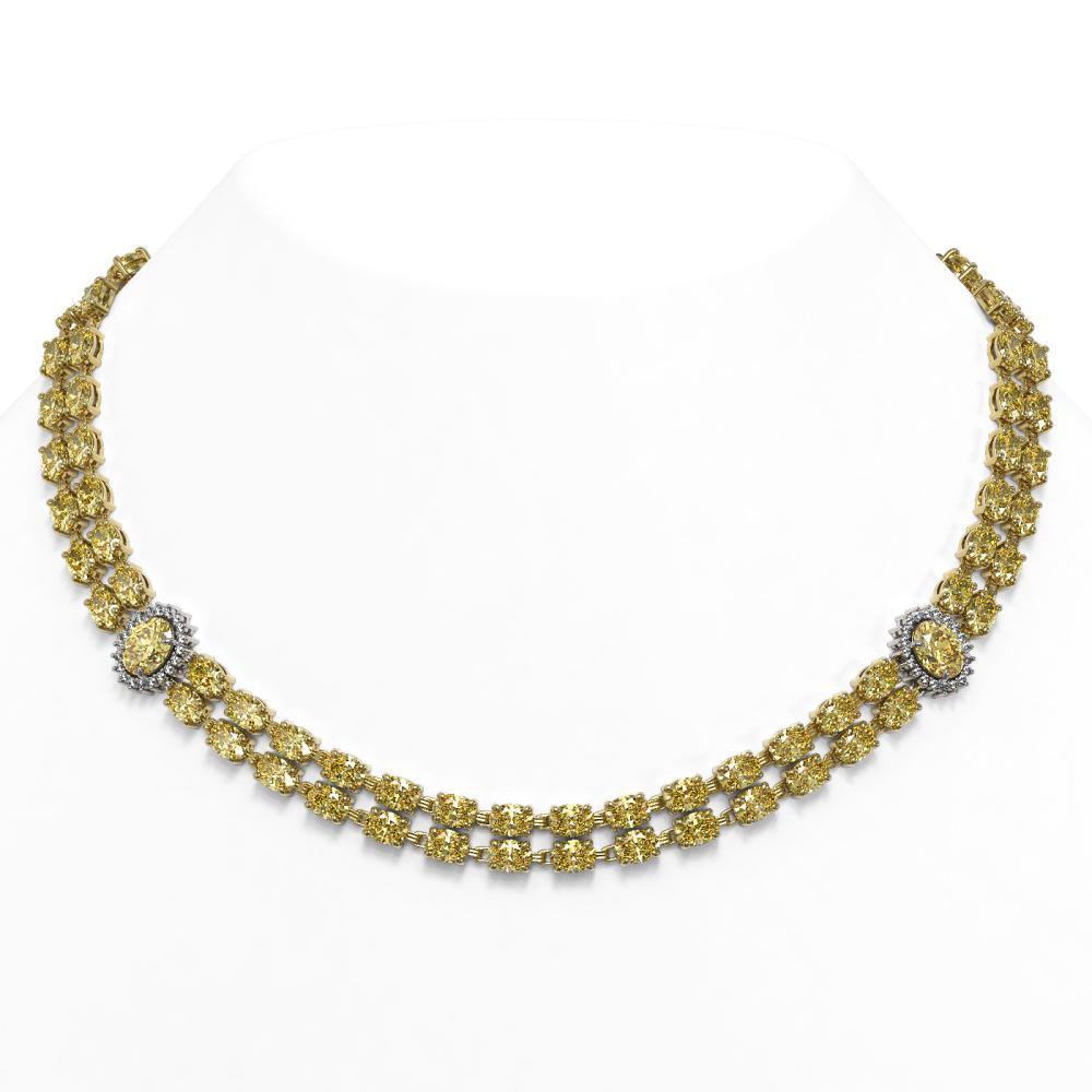 53.35 ctw Citrine & Diamond Necklace 14K Yellow Gold - REF-435F8N - SKU:44383