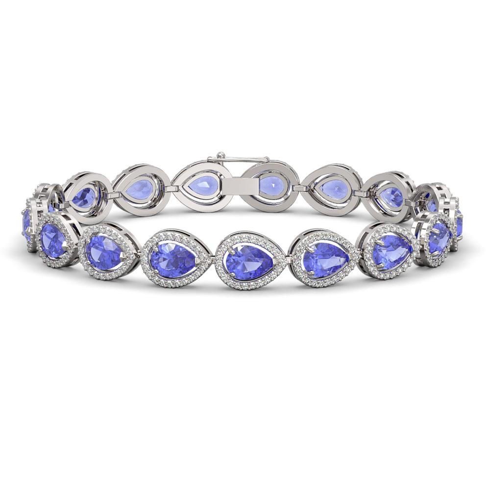 19.14 ctw Tanzanite & Diamond Halo Bracelet 10K White Gold - REF-396X5R - SKU:41099
