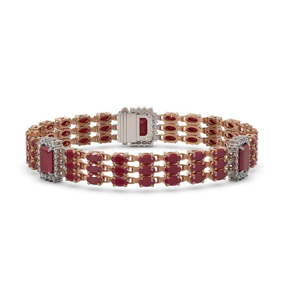 29.64 ctw Ruby & Diamond Bracelet 14K Rose Gold - REF-354H2M - SKU:45369