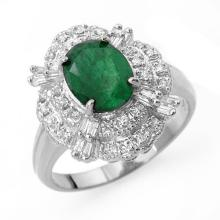 3.31 ctw Emerald & Diamond Ring 18K White Gold - REF#-79W3G-13079