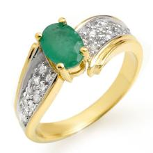 1.43 ctw Emerald & Diamond Ring 10K Yellow Gold - REF#-46M4F-13378
