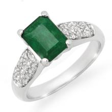 1.76 ctw Emerald & Diamond Ring 10K White Gold - REF#-35V6Y-14548