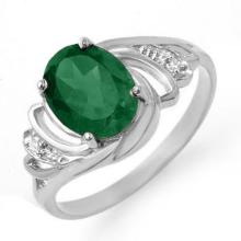 2.14 ctw Emerald & Diamond Ring 18K White Gold - REF#-38A2X-13587