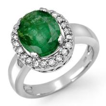 4.40 ctw Emerald & Diamond Ring 10K White Gold - REF#-54F5V-11902