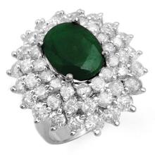 10.02 ctw Emerald & Diamond Ring 18K White Gold - REF#-368T4K-13306