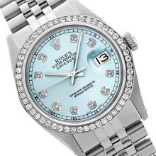 Rolex Ladies Stainless Steel, Diamond Dial & Diamond Bezel, Saph Crystal - REF-355W6K