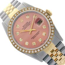Rolex Ladies Two Tone 14K Gold/SS, Diamond Dial & Diamond Bezel, Saph Crystal - REF-363X3A