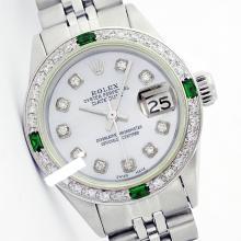 Rolex Ladies Stainless Steel, Diam Dial & Diam/Emerald Bezel, Saph Crystal - REF-355H6W