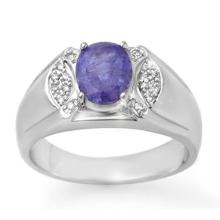 2.65 ctw Tanzanite & Diamond Men's Ring 10K White Gold - REF#-70F4V-13415