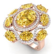 7.68 CTW Royalty Canary Citrine & VS Diamond Ring 18K Gold - REF#-178H2M-39307