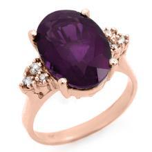 5.15 ctw Amethyst & Diamond Ring 10K Rose Gold - REF#-32A9X-12932