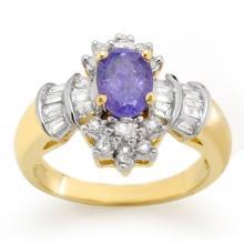 1.76 ctw Tanzanite & Diamond Ring 14K Yellow Gold - REF#-74A7X-10566