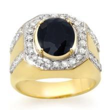 5.75 ctw Sapphire & Diamond Men's Ring 10K Yellow Gold - REF#-94V5Y-14497
