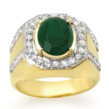 5.25 ctw Emerald & Diamond Men's Ring 10K Yellow Gold - REF#-91N5A-14499