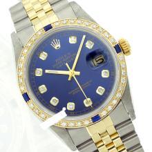 Rolex Ladies Two Tone 14K Gold/ss, Diam Dial & Diam/Sapphire Bezel, Saph Crystal - REF-363F3M