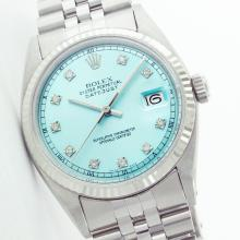 Rolex Men's Stainless Steel, QuickSet, Diamond Dial with Fluted Bezel - REF-387Y3X