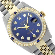 Rolex Ladies Two Tone, Diam Dial & Diam/Sapphire Bezel, Saph Crystal - REF-363Z3Y
