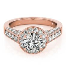 2.56 CTW Certified VS/SI Diamond Solitaire Halo Ring 18K Rose Gold - REF-640N2A - 26788
