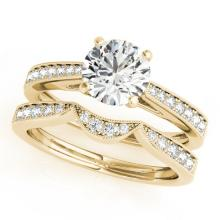 0.94 CTW Certified VS/SI Diamond Solitaire 2Pc Wedding Set 14K Gold - REF-135R6K - 31726