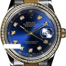 Rolex Men's Two Tone 14K Gold/SS, QuickSet, Diamond Dial & Diamond Bezel - REF-474F5M