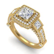 3 CTW Princess VS/SI Diamond Solitaire Art Deco 3 Stone Ring 18K Gold - REF-563W6H - 37135