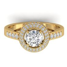 1.45 CTW Certified VS/SI Diamond Art Deco Micro Halo Ring 14K Gold - REF-217Y3X - 30488