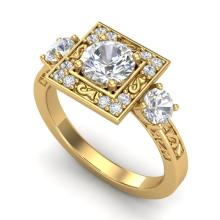 1.55 CTW VS/SI Diamond Solitaire Art Deco 3 Stone Ring 18K Gold - REF-272Y7X - 37276