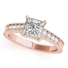 0.65 CTW Certified VS/SI Princess Diamond Solitaire Antique Ring Gold - REF-136W4H - 27226