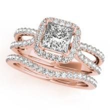 1.71 CTW Certified VS/SI Princess Diamond 2Pc Set Solitaire Halo 14K Gold - REF-446F5M - 31344