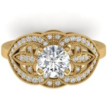 1.5 CTW Certified VS/SI Diamond Art Deco Micro Ring 14K Gold - REF-376W2H - 30512